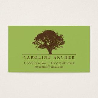 Green eternal oak tree elegant style nature business card