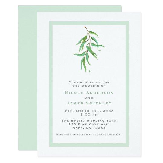 Green Eucalyptus Botanical Leaves Rustic Wedding Card