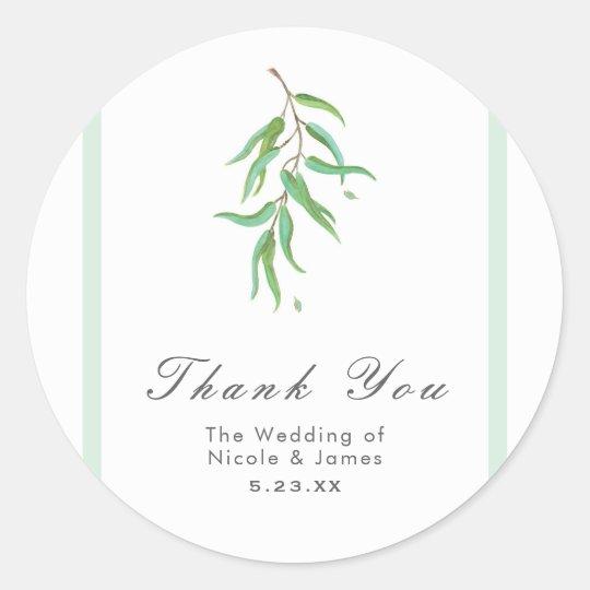 Green Eucalyptus Botanical Leaves Rustic Wedding Classic Round Sticker