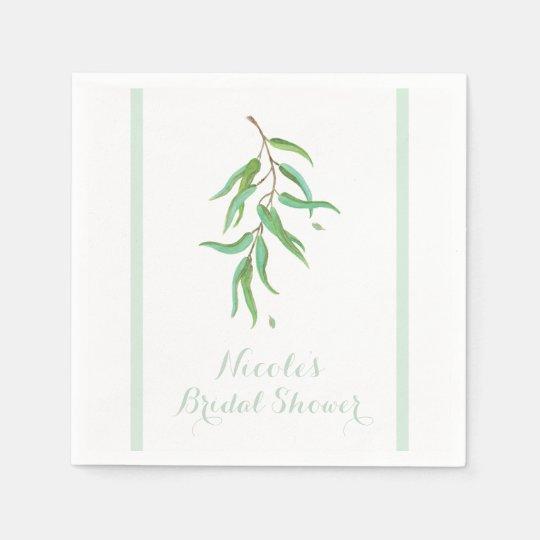 Green Eucalyptus Botanical Leaves Rustic Wedding Napkin