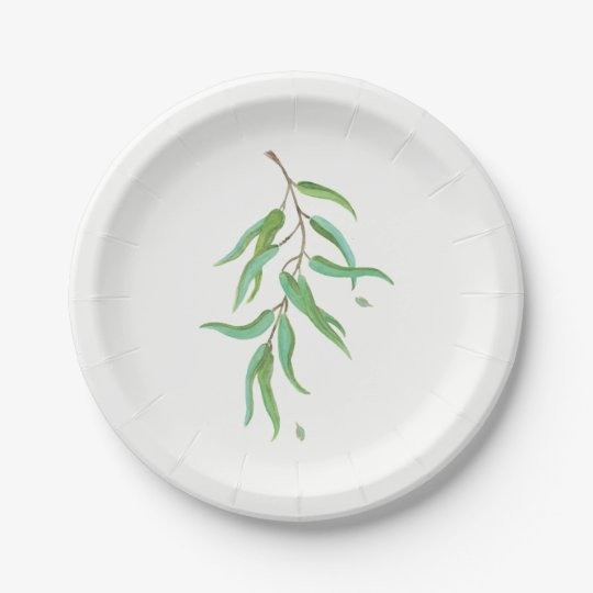 Green Eucalyptus Botanical Leaves Rustic Wedding Paper Plate