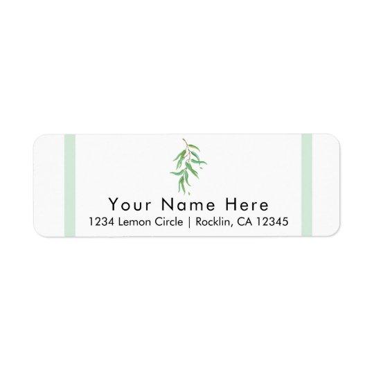 Green Eucalyptus Botanical Leaves Rustic Wedding Return Address Label