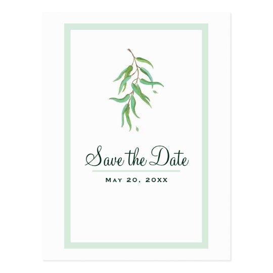 Green Eucalyptus Botanical Leaves Save the Date Postcard
