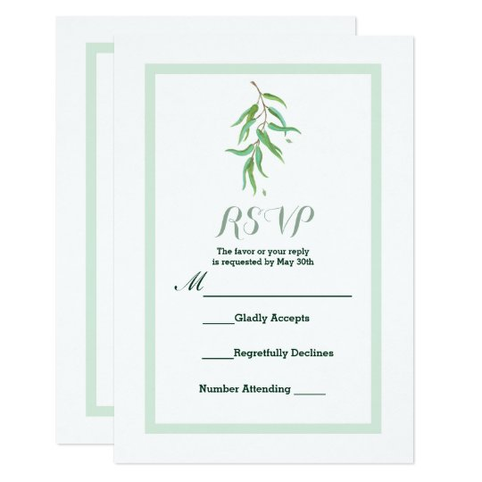 Green Eucalyptus Botanical Leaves Wedding RSVP Card