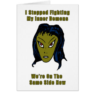 Green Evil Alien Woman Same Side Now Card
