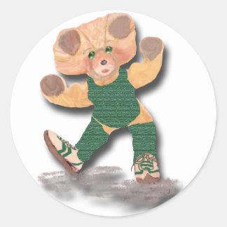Green Exercise Teddy Bear Sticker