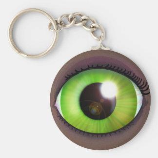 Green Eye Basic Round Button Keychain