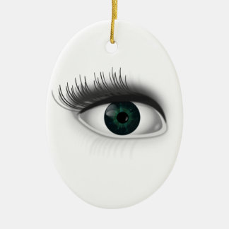 Green eye. ceramic oval ornament