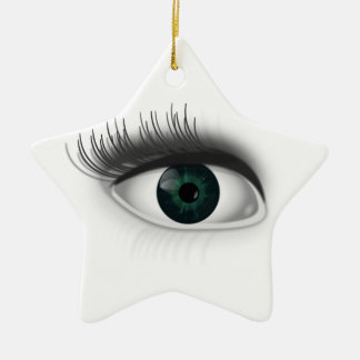 Green eye. ceramic star ornament