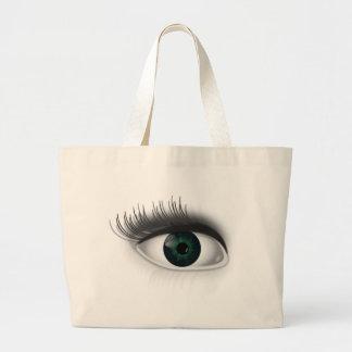 Green eye. large tote bag