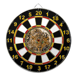 Green eye leopard with Spotted skin gold foil Dartboard