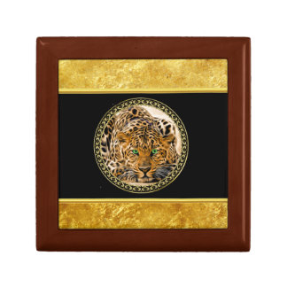 Green eye leopard with Spotted skin gold foil Gift Box