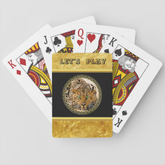 Green eye leopard with Spotted skin gold foil Playing Cards