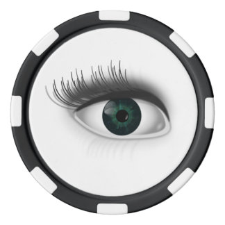 Green eye. poker chips