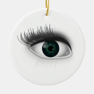 Green eye. round ceramic ornament