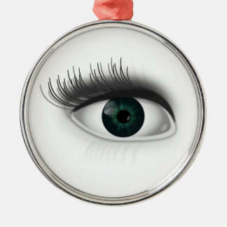 Green eye. Silver-Colored round ornament