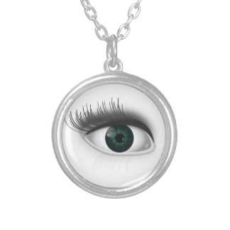 Green eye. silver plated necklace