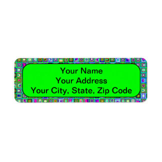 Green 'Eyeballs' Psychedelic Retro Tiles Pattern Return Address Label