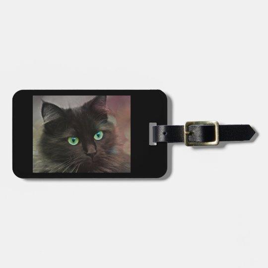 Green Eyed Black Cat Bag Tag