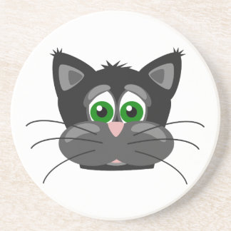 Green-eyed black Cat Coaster