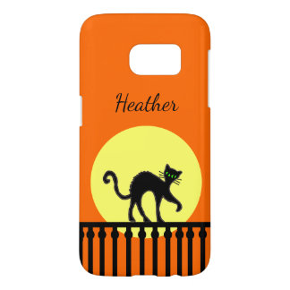 Green Eyed Black Cat on Fence Full Moon Orange Samsung Galaxy S7 Case
