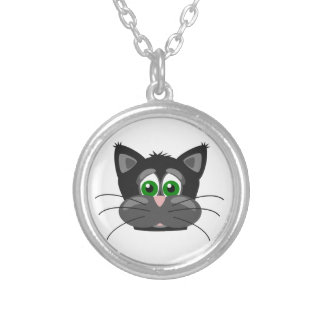 Green-eyed black Cat Silver Plated Necklace