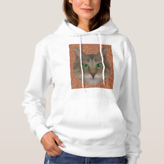 Green Eyed Cat Polygon Graphic Design, Hoodie