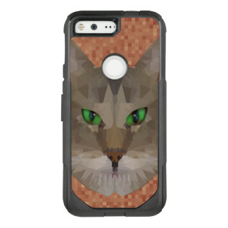 Green Eyed Cat Polygon Graphic Design, OtterBox Commuter Google Pixel Case