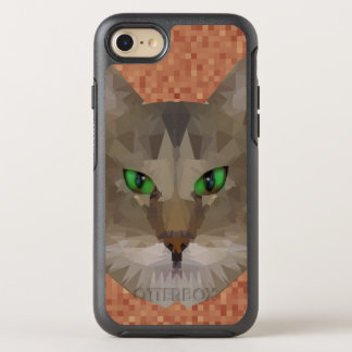 Green Eyed Cat Polygon Graphic Design, OtterBox Symmetry iPhone 8/7 Case