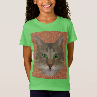 Green Eyed Cat Polygon Graphic Design, T-Shirt