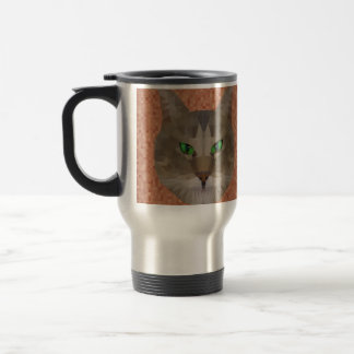Green Eyed Cat Polygon Graphic Design, Travel Mug