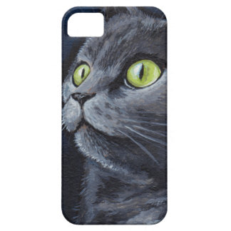 Green Eyed Grey Cat Painting Case For The iPhone 5