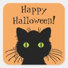 Green Eyed Halloween Black Cat Design Square Sticker