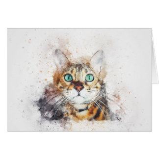 Green Eyed Kitty Portrait | Abstract | Watercolor Card
