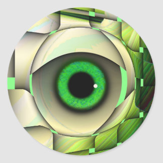 Green Eyed Monster Classic Round Sticker