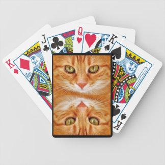 Green Eyed Orange Tiger Cat Bicycle Playing Cards