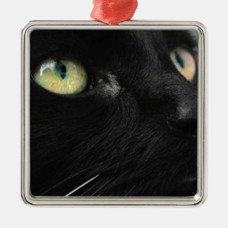 Green Eyes - Black Cat Metal Ornament
