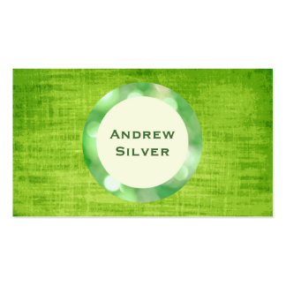 Green Fabric Background, White and Green Circle Business Card