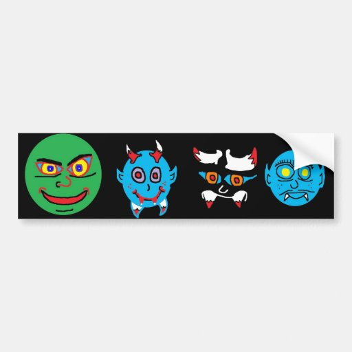 green face (2), Baby Vamp (2), evil face 2 (2),... Bumper Sticker