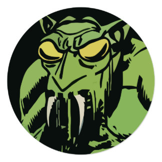 "Green Face Monster 5.25"" Square Invitation Card"