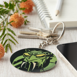 Green Face Monster Basic Round Button Keychain