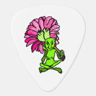 Green Faerie And Flower Guitar Pick