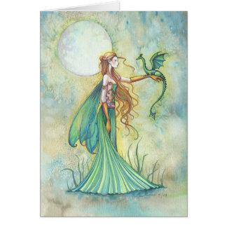 Green Fairy and Dragon Fantasy Art Card