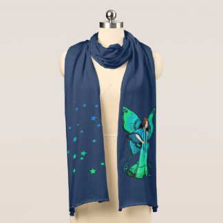 Green Fairy and Stars jersey scarf