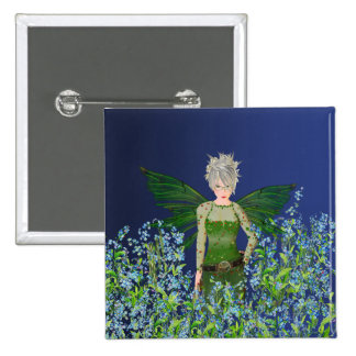 Green Fairy - Forget-Me-Not 2 Inch Square Button
