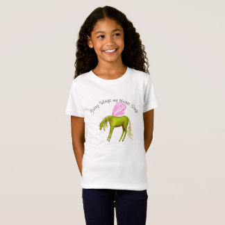 Green fairy horse with pink wings t-shirt