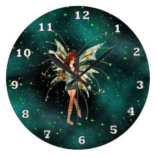 Green Fairy Large Wall Clock