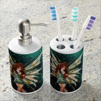 Green Fairy Toothbrush Holder & Soap Dispenser