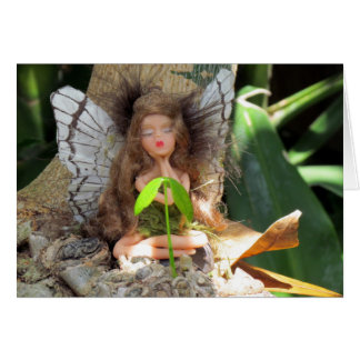 Green Fairy with Seedling Greeting Card