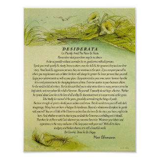 Green Fallen Feather Desiderata Poster